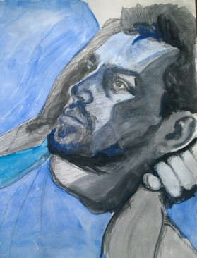 Timothy in Blue, Mixed Media on Paper, 10x12, 2014