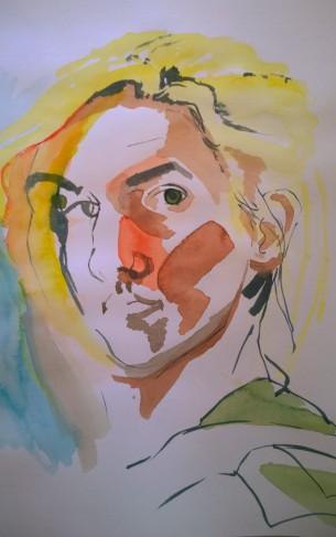 Untitled Self Portrait, Gouache on Paper, 10x12, 2014