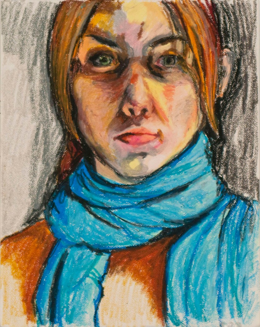 Untitled Self Portrait, Oil Crayon on Paper, 11x14, 2012